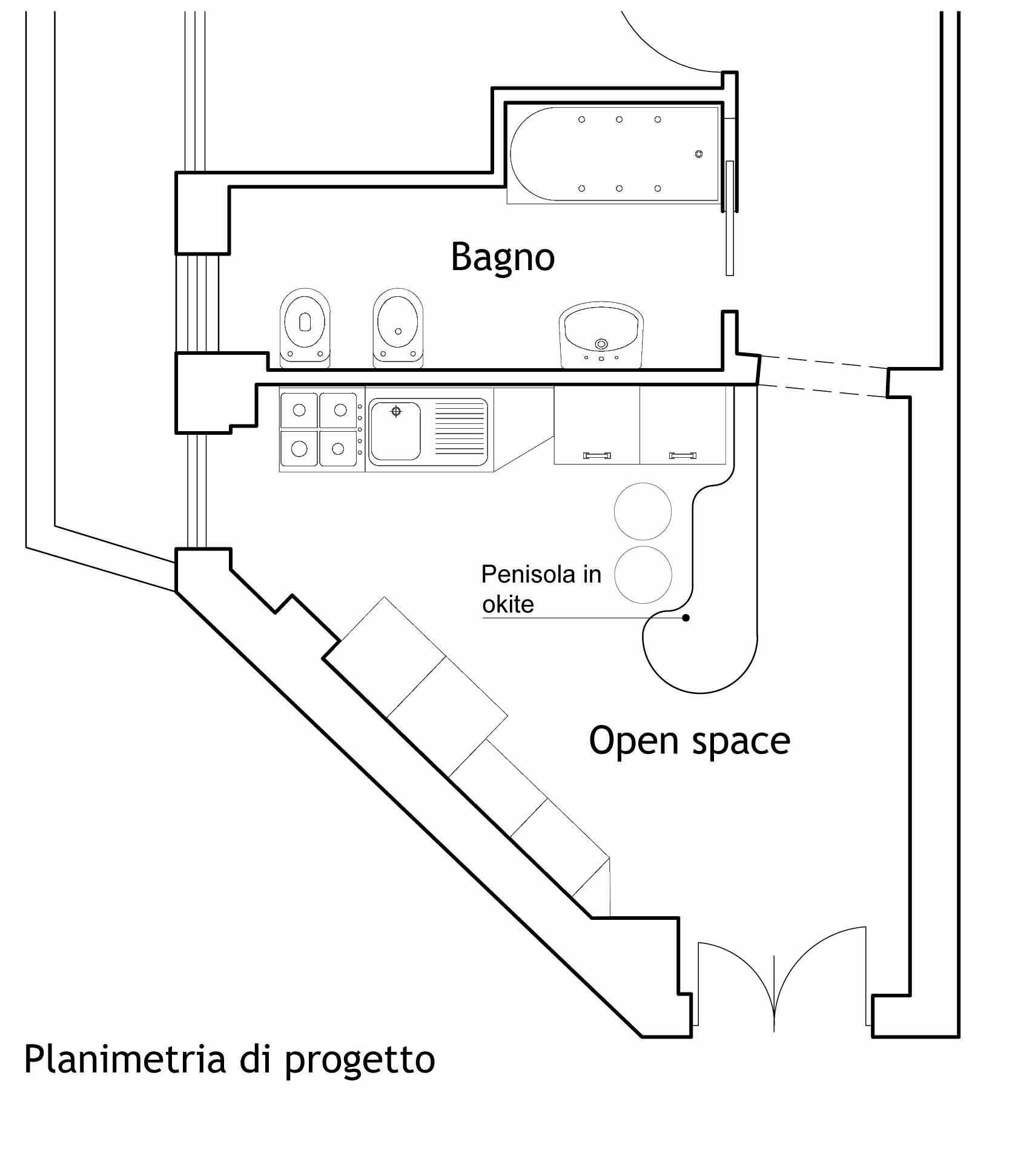 Piano bar casa pd studio pescebellantuono for Aprire piani casa layout